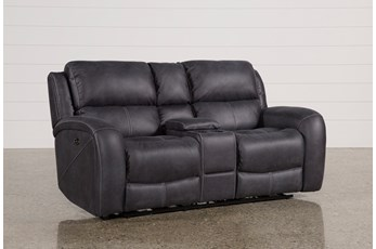 "Deegan Charcoal 77"" Power Reclining Loveseat With Console"