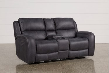 """Deegan Charcoal 77"""" Power Reclining Loveseat With Console"""