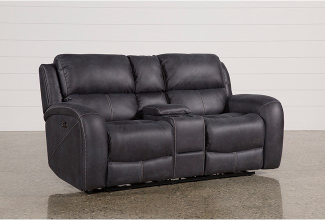 "Deegan Charcoal 77"" Power Reclining Loveseat With Console - 360"
