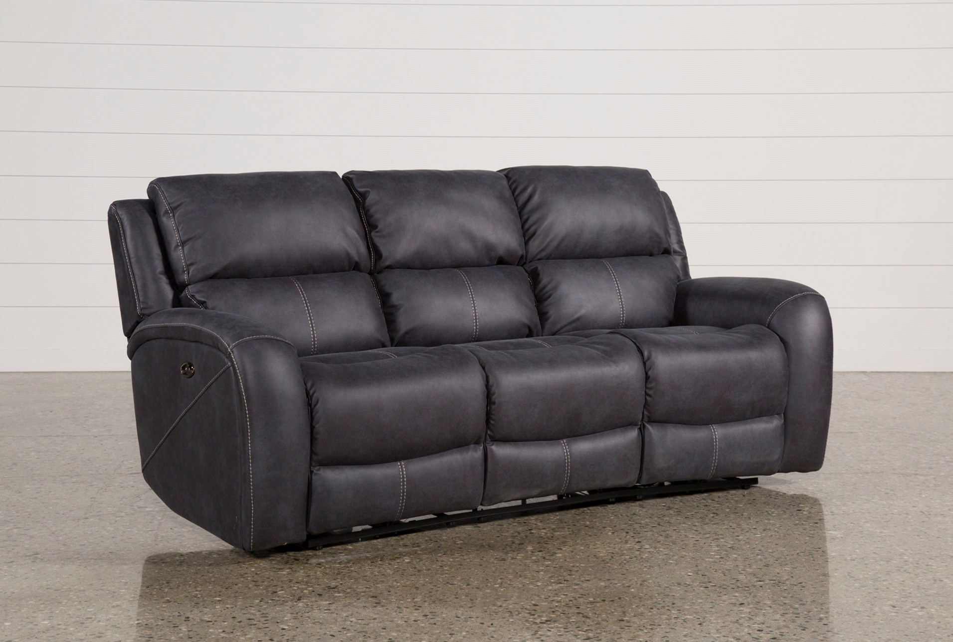 Deegan Charcoal Power Reclining Sofa Living Spaces