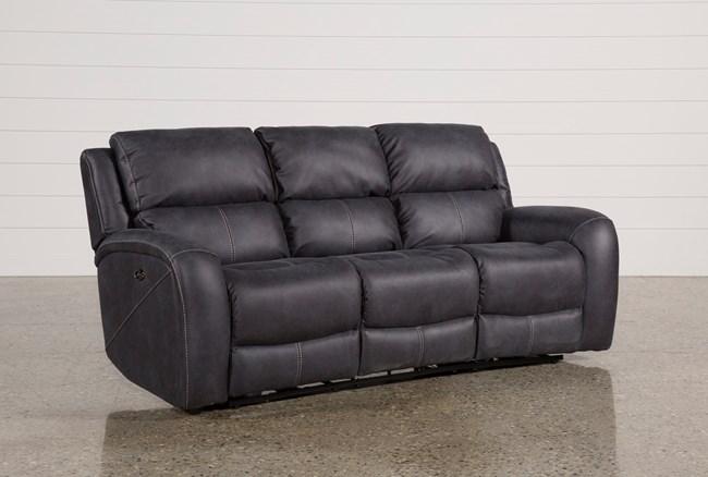 "Deegan Charcoal 88"" Power Reclining Sofa - 360"