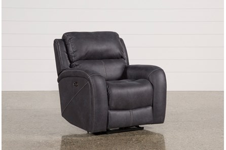 Deegan Charcoal Power Reclining Loveseat W Console