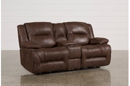 Calder Brown Power Reclining Loveseat W/Console