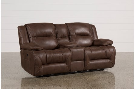 Calder Brown Power Reclining Loveseat W/Console - Main