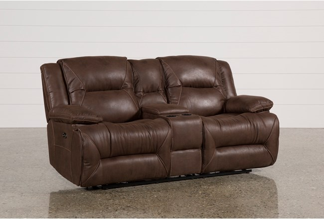 Calder Brown Power Reclining Loveseat Wconsole Living Spaces