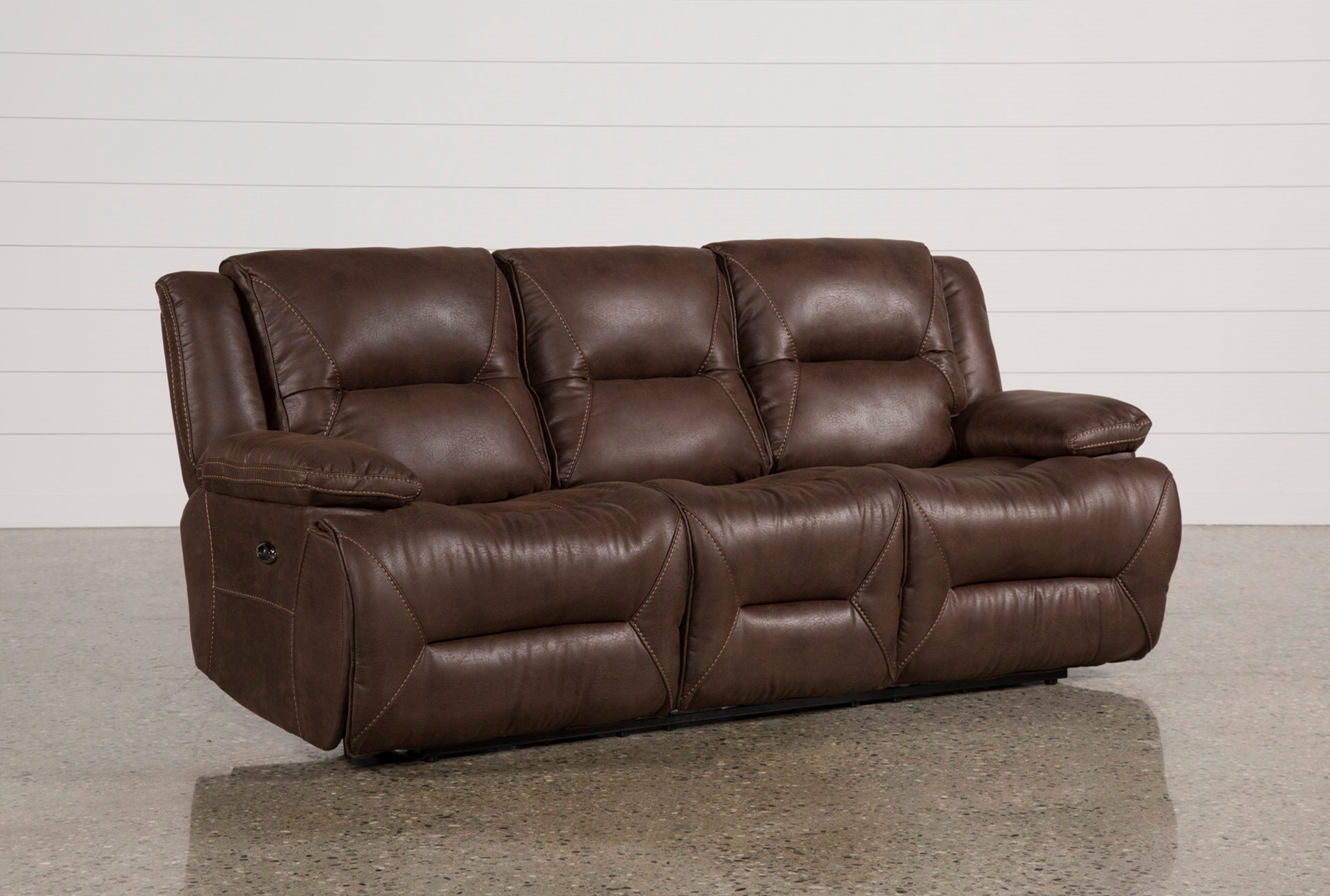 Brown reclining sofa mustang dual reclining sofa with for Affordable furniture brandon