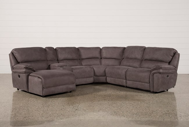 Norfolk Grey 6 Piece Sectional W/Laf Chaise - 360
