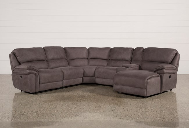 Norfolk Grey 6 Piece Sectional W/Raf Chaise - 360