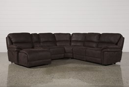Norfolk Chocolate 6 Piece Sectional W/Laf Chaise