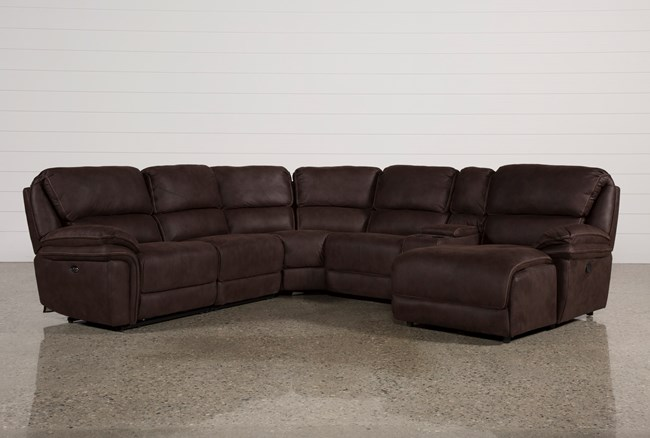 Norfolk Chocolate 6 Piece Sectional W/Raf Chaise - 360