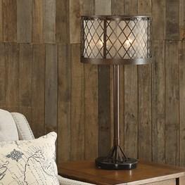 Table Lamp-Diamond Mesh Antique Bronze