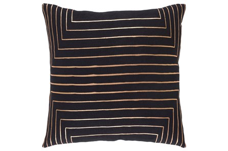 Accent Pillow-Linear Black 18X18 - Main