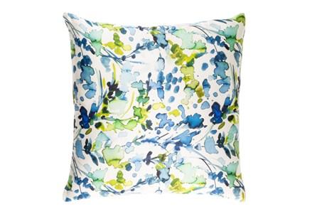 Accent Pillow-Watercolor Leaves Blue 22X22 - Main