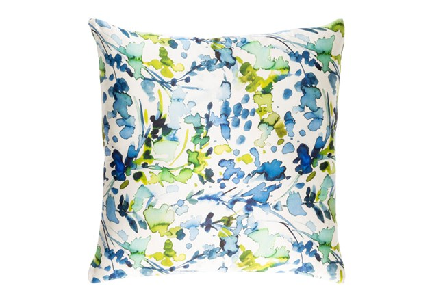 Accent Pillow-Watercolor Leaves Blue 22X22 - 360