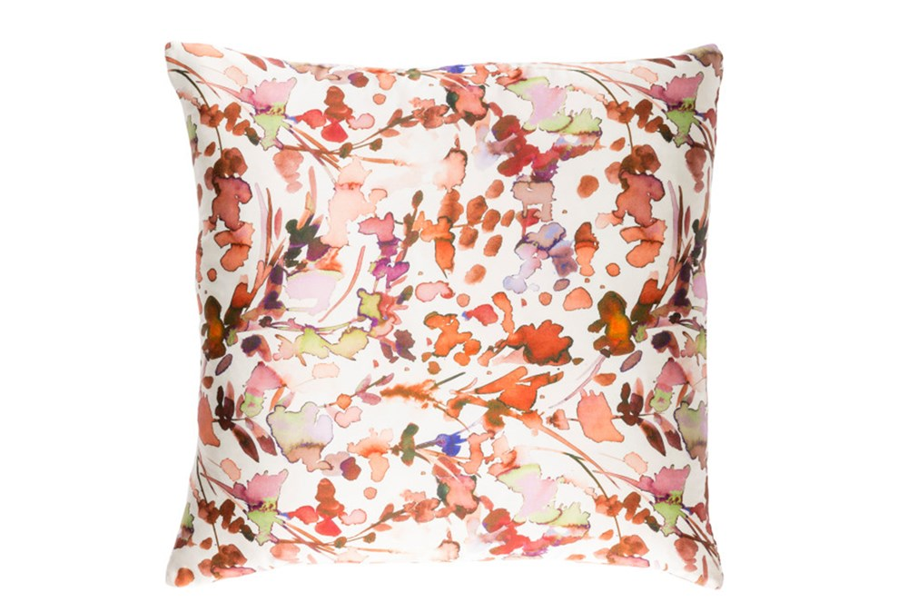 Accent Pillow-Watercolor Leaves Coral 22X22