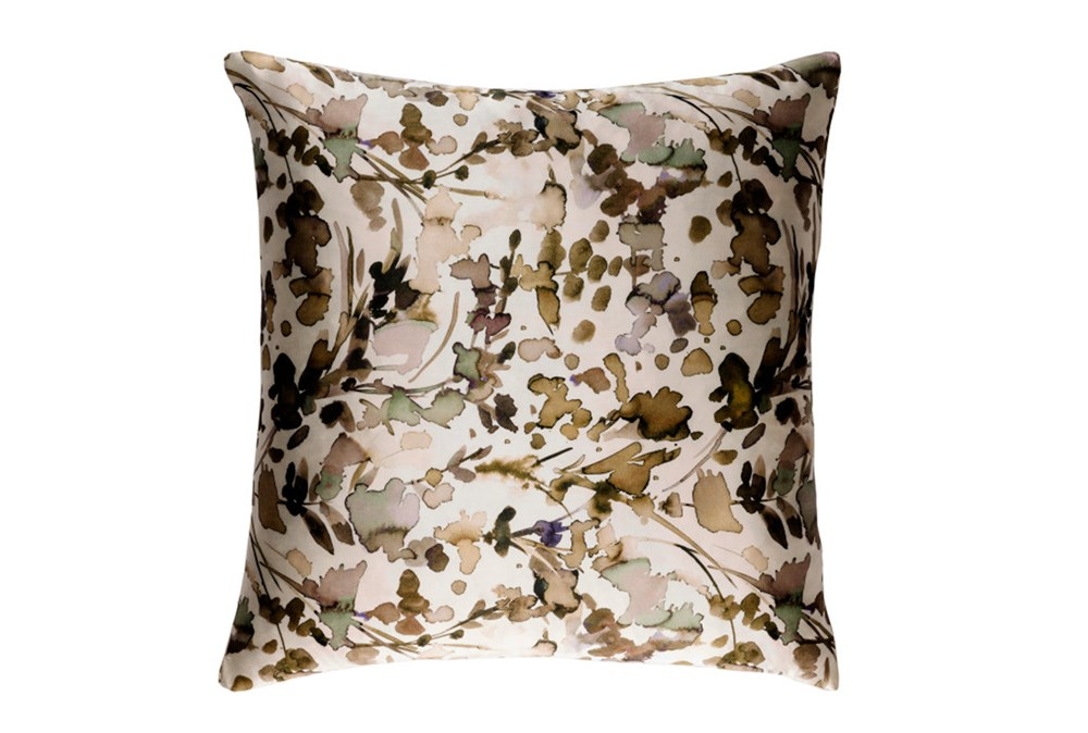 Accent Pillow-Watercolor Leaves Tan 18X18