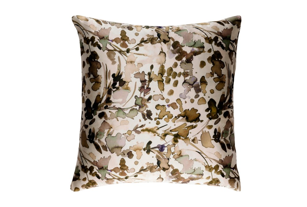 Accent Pillow-Watercolor Leaves Tan 22X22