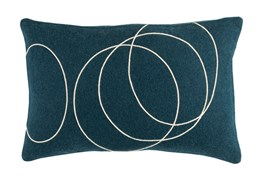 Accent Pillow-Felt Circles Dark Blue 19X13
