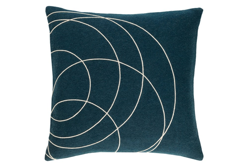 Accent Pillow-Felt Circles Dark Blue 18X18
