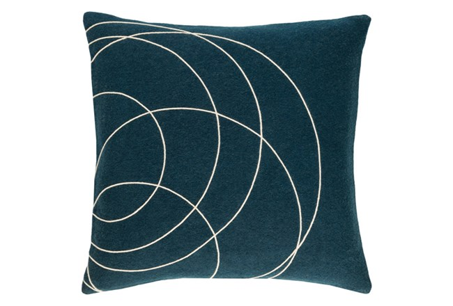 Accent Pillow-Felt Circles Dark Blue 18X18 - 360