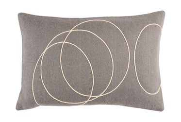 Accent Pillow-Felt Circles Grey 19X13