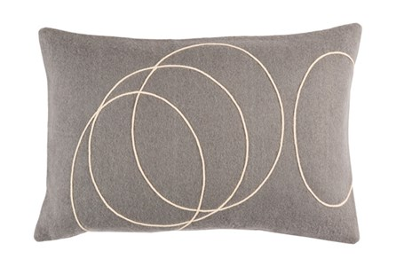 Accent Pillow-Felt Circles Grey 19X13