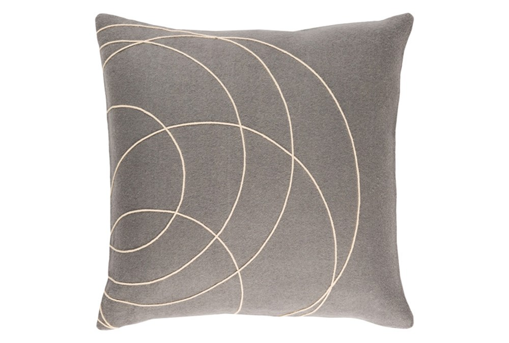 Accent Pillow-Felt Circles Grey 18X18