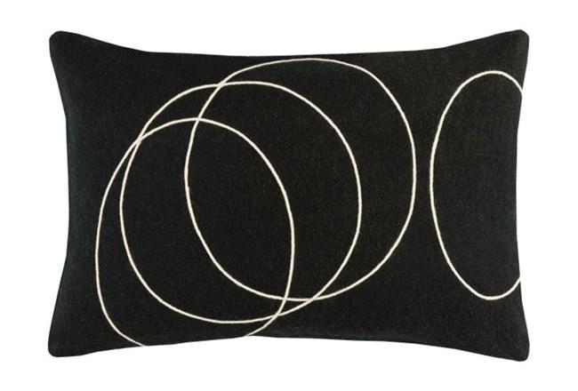 Accent Pillow-Felt Circles Black 19X13 - 360