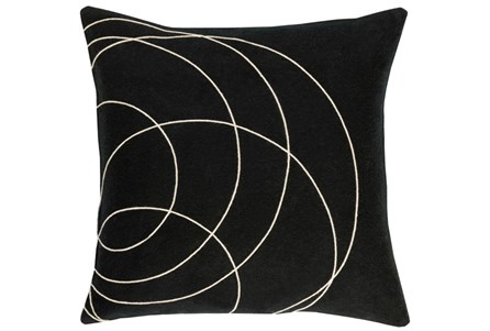 Accent Pillow-Felt Circles Black 18X18