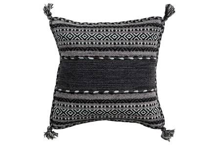 Accent Pillow-Black Tassels 20X20 - Main