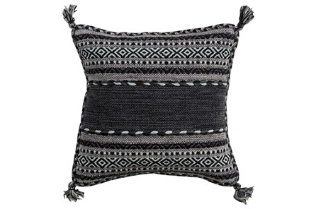 Accent Pillow-Black Tassels 18X18 - Main