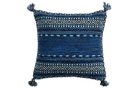 Accent Pillow-Denim Tassels 18X18 - Main