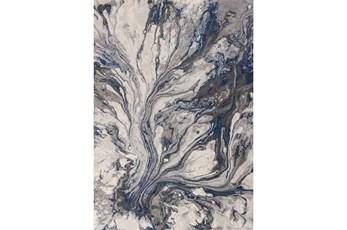 """3'3""""x4'9"""" Rug-Grey/Blue Marble Swirl"""