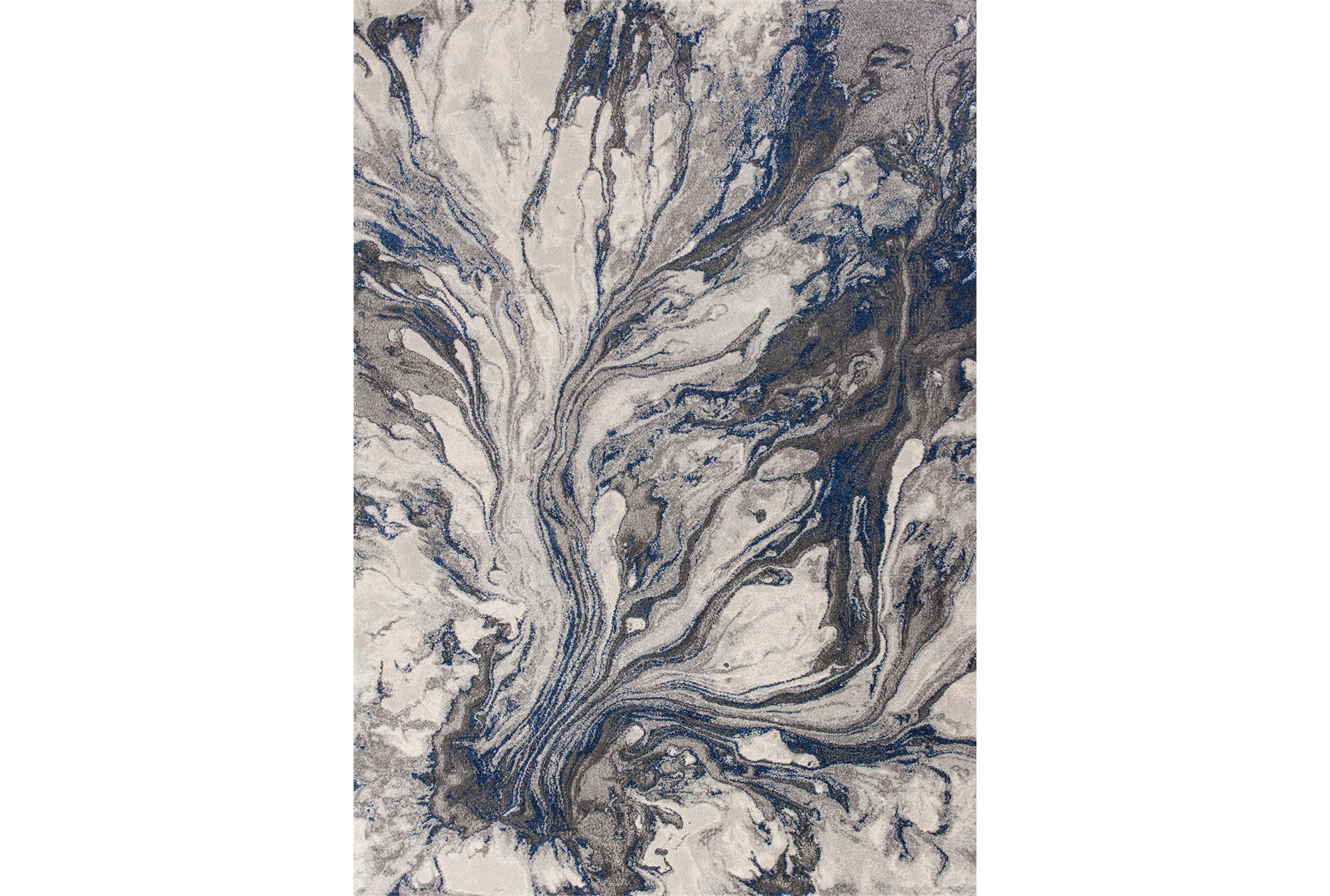 94x130 Rug Grey Blue Marble Swirl Living Spaces