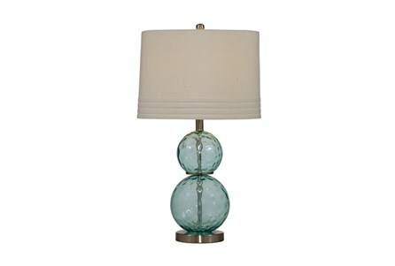 Table Lamp-Teal Dimple Glass