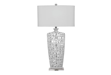 Table Lamp-White Oragami Cutwork