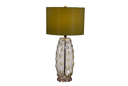 Table Lamp-Bubble Glass With Tan Shade