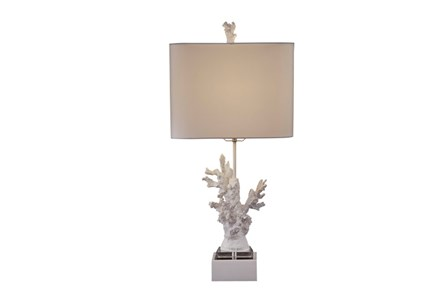 Table Lamp-White Coral On Acrylic Base