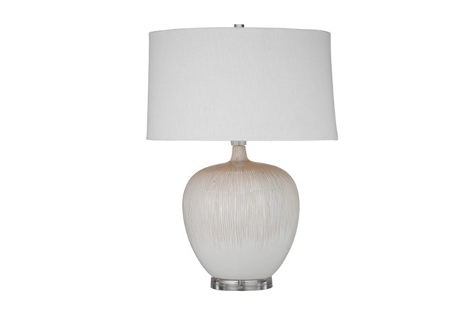 Table Lamp-White And Beige Striations - 360