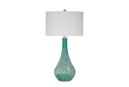 Table Lamp-Turquoise Frosted Glass Tear Drop
