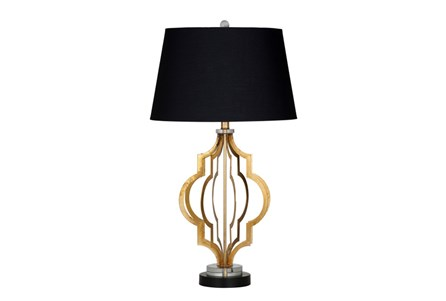 Table Lamp-Gold Leaf Quatrefoil