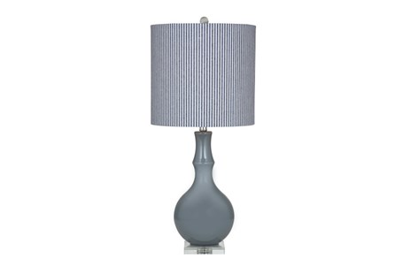 Table Lamp-Grey With Grey Ticking Shade