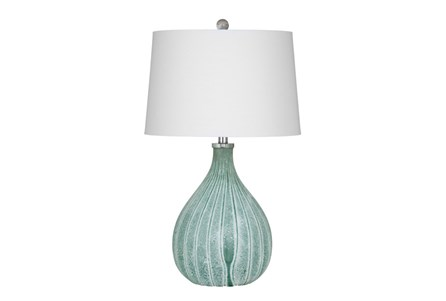 Table Lamp-Green Frosted Glass