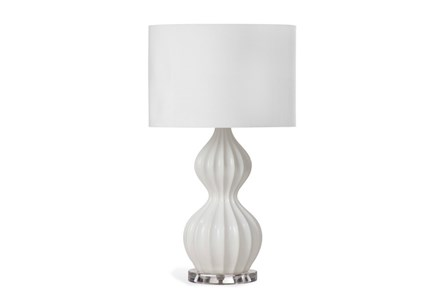 Table Lamp-White Fluted Gord