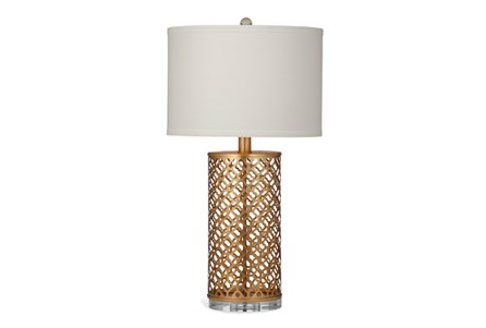 Table Lamp-Gold Metal Quatrefoil