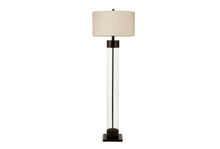 Floor Lamp-Bronze And Glass Column