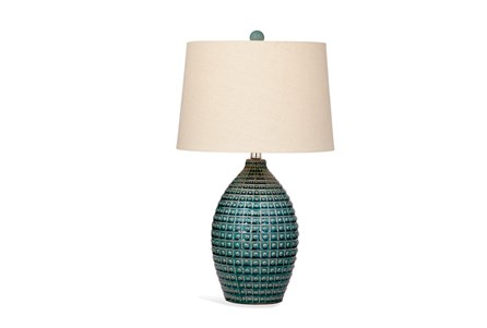 Table Lamp-Turquoise Grid