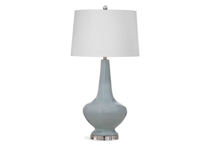 Table Lamp-Light Blue Fluted
