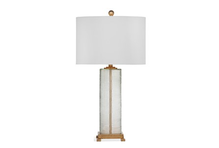 Table Lamp-Ribbed Glass And Gold