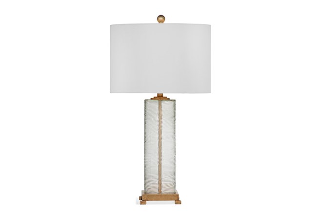Table Lamp-Ribbed Glass And Gold - 360